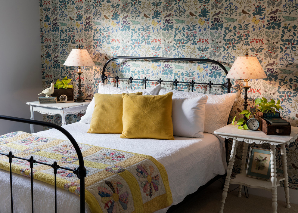 Inspiration for a farmhouse guest carpeted and beige floor bedroom remodel in Seattle with multicolored walls