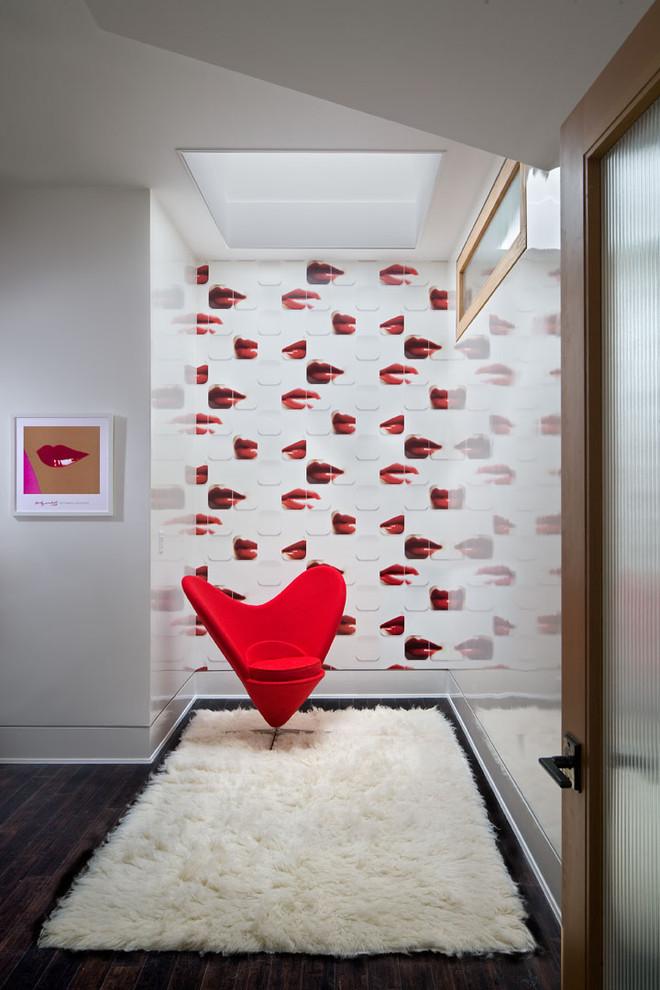 Bedroom - contemporary dark wood floor bedroom idea in Charleston with white walls