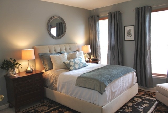 grey blue bedroom. Guest Room Redesign traditional bedroom