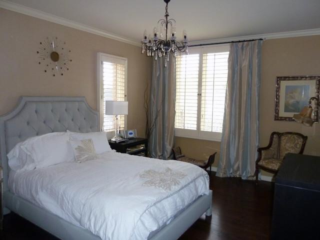 guest suite bedroom soft colors silk drapes contemporary
