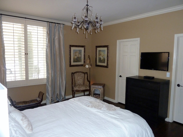 Guest suite with TV mounted on wall over small dresser - Contemporary - Bedroom - Phoenix