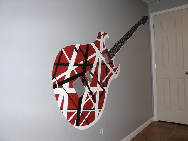 Guitar theme room contemporary bedroom. Guitar theme room