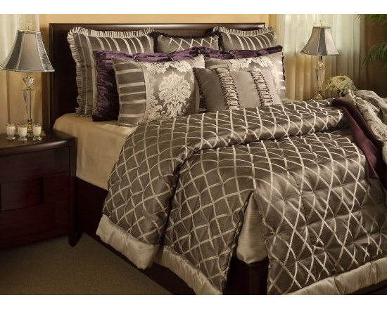 "Bedding 2012 - This is the Gwyneth set. It comes with an Over sized quilted Coverlet with Tailored corner,  3- 26x26 euros, 2 King shams, 2- Shirred Shams and 1- 18"" x 24"" pillow. Pillow comes stuffed and ready to go. You can buy on your web sight. Items are made in our workroom in Utah. Supply is limited."