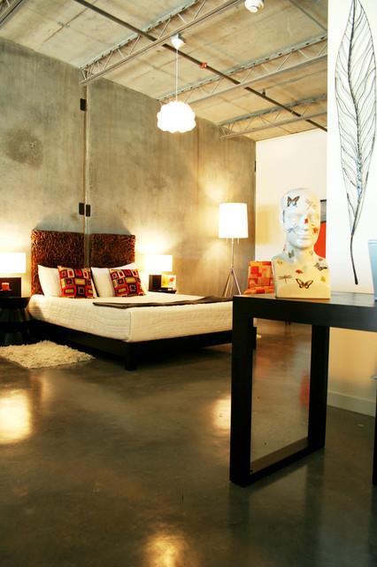 Bedroom - industrial concrete floor and gray floor bedroom idea in Portland & H45 Loft - Industrial - Bedroom - Portland - by Pangaea Interior ...