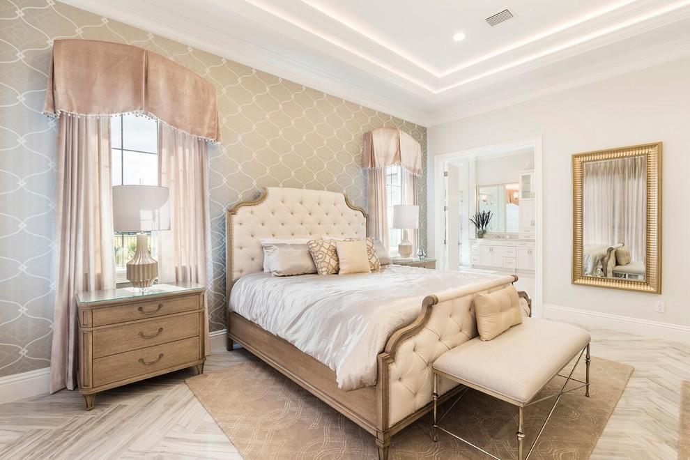 Bedroom - mediterranean master gray floor bedroom idea in Orlando with multicolored walls