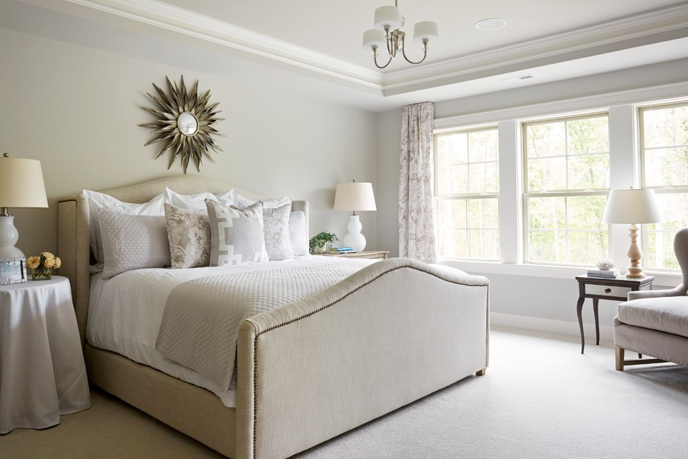 Example of a classic carpeted and gray floor bedroom design in Richmond with gray walls
