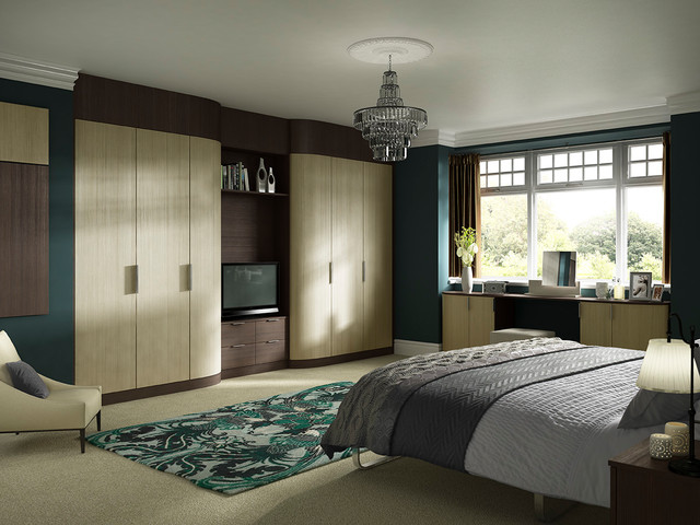Hammonds vigo fitted wardrobes in light and dark pine modern bedroom