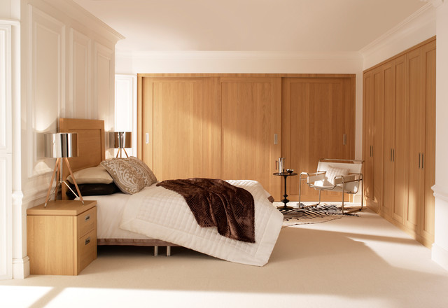 Hammonds willoughby sliding doors in light oak contemporary bedroom