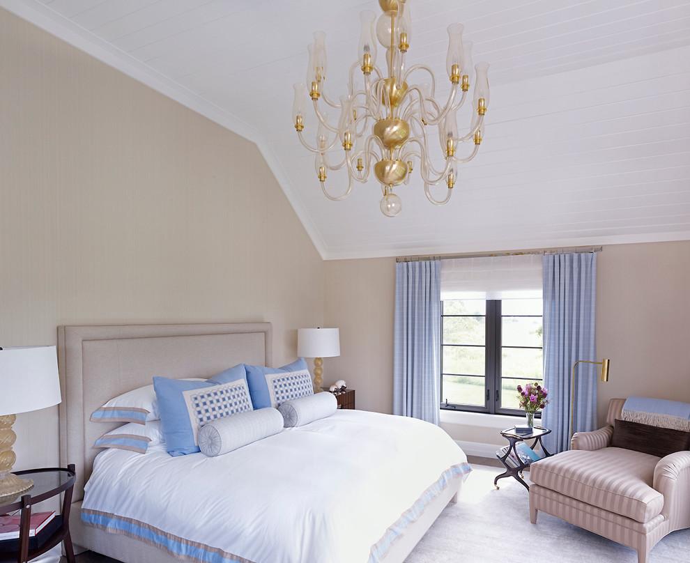 Bedroom - coastal bedroom idea in New York with beige walls