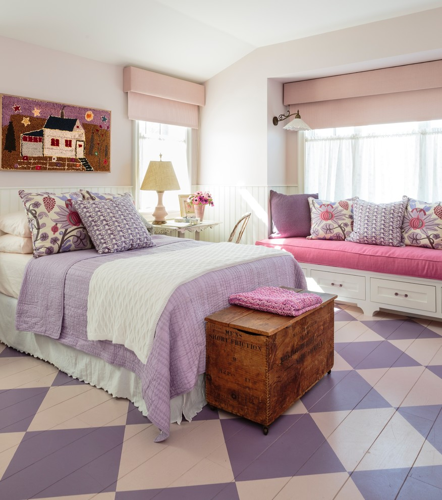 Mid-sized cottage chic painted wood floor and multicolored floor bedroom photo in Los Angeles with pink walls