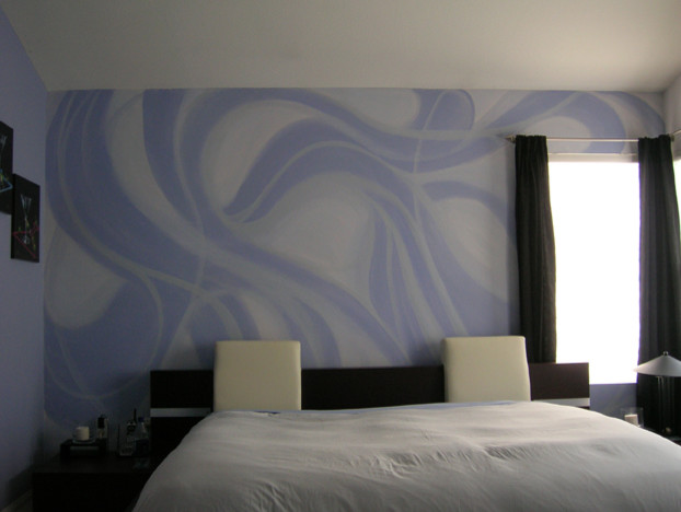 Hand painted purple and silver wall pattern for Silver bedroom wall art