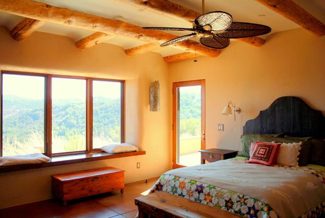 Handcrafted Sustainable Straw Bale mediterranean-bedroom