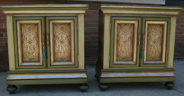 handpainted and embellished nightstands for sale eclectic-bedroom
