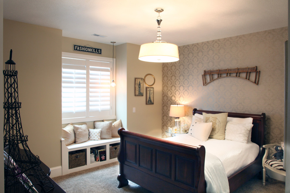 Inspiration for a mid-sized timeless carpeted bedroom remodel in Salt Lake City with beige walls and no fireplace