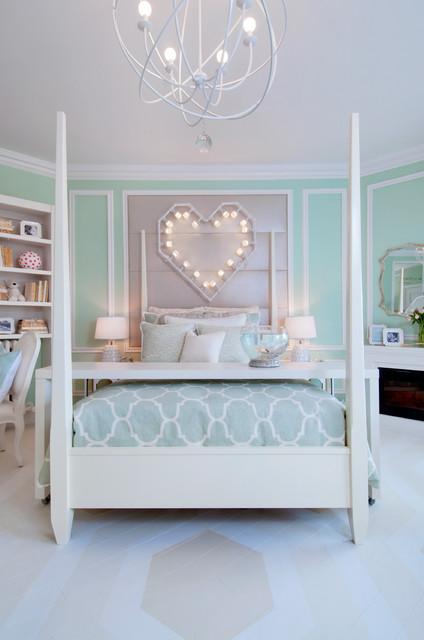 """""""Heart on Fire"""" Little Girl's Bedroom transitional-bedroom"""