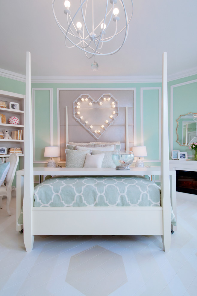 Example of a transitional painted wood floor bedroom design in San Francisco with blue walls