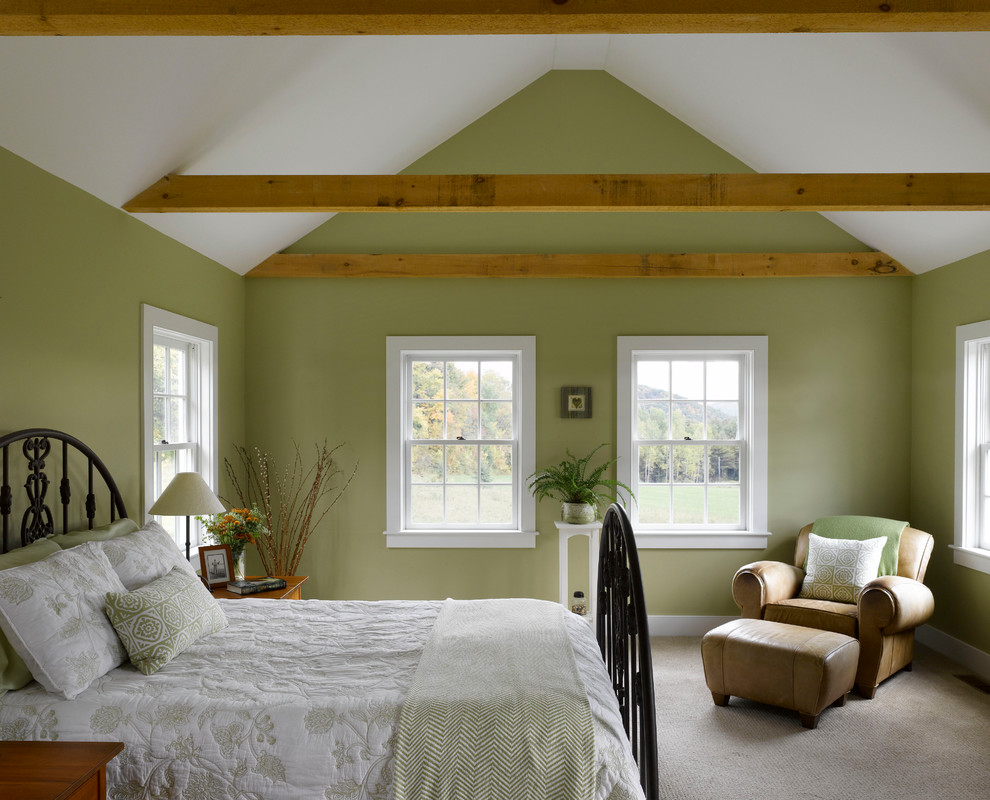 Example of a cottage bedroom design in Richmond with green walls