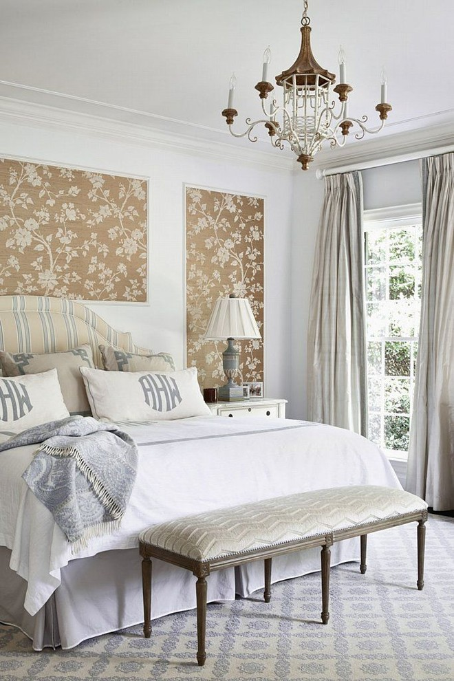 Bedroom - traditional carpeted bedroom idea in Charlotte with multicolored walls