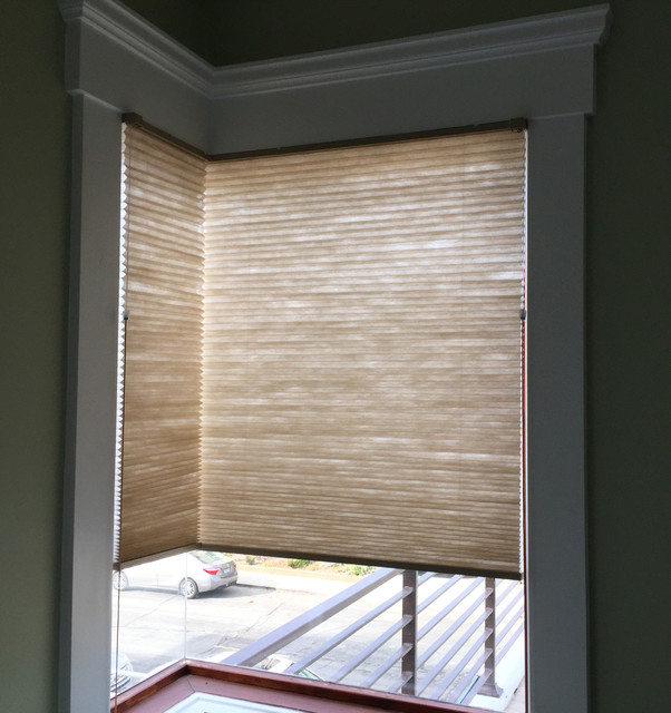 Window treatments for living room with blinds - Hermosa Beach Corner Window Cellular Shades Beach Style