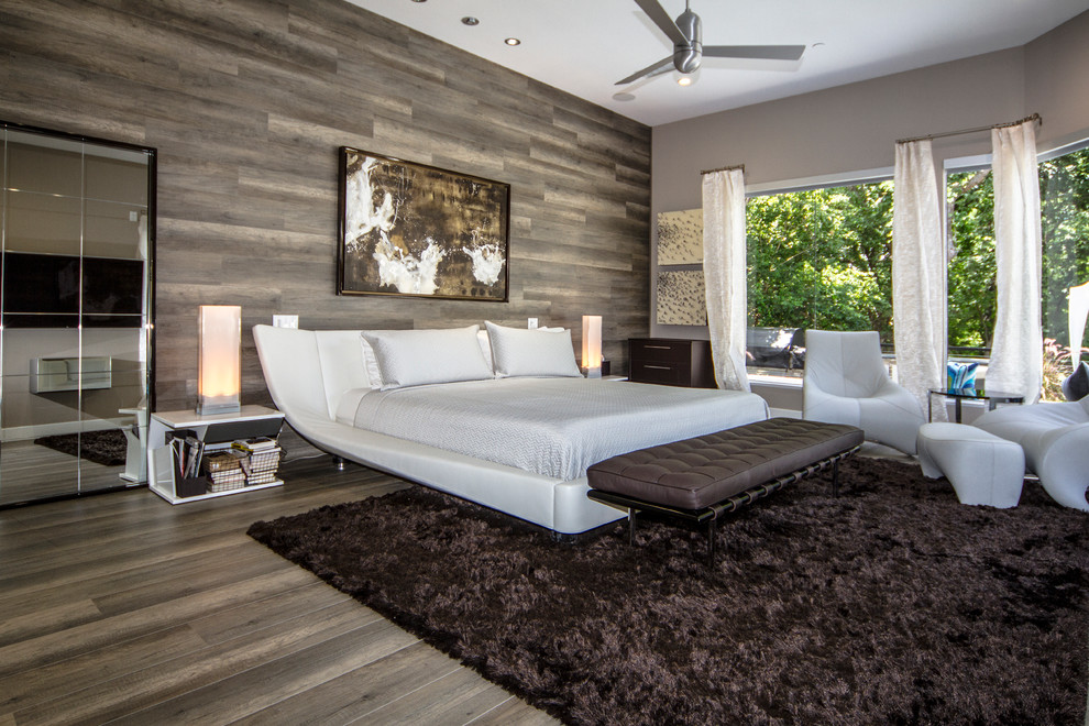 Bedroom - large contemporary master dark wood floor bedroom idea in Dallas with gray walls and no fireplace