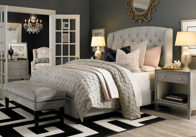 HGTV Home Custom Upholstered Paris Arched Winged Bed By