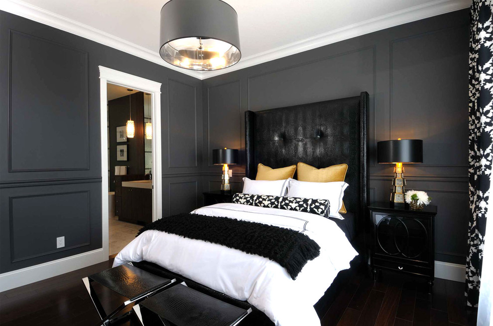 Inspiration for a contemporary bedroom remodel in Other with black walls