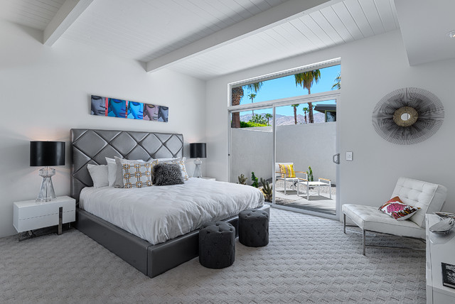 Gray Carpet Bedroom Hidden Desert South  Midcentury  Bedroom  Los Angeles H3K .