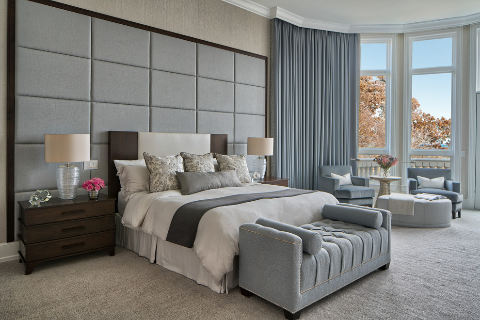 Inspiration for a transitional master carpeted and gray floor bedroom remodel in Chicago with gray walls