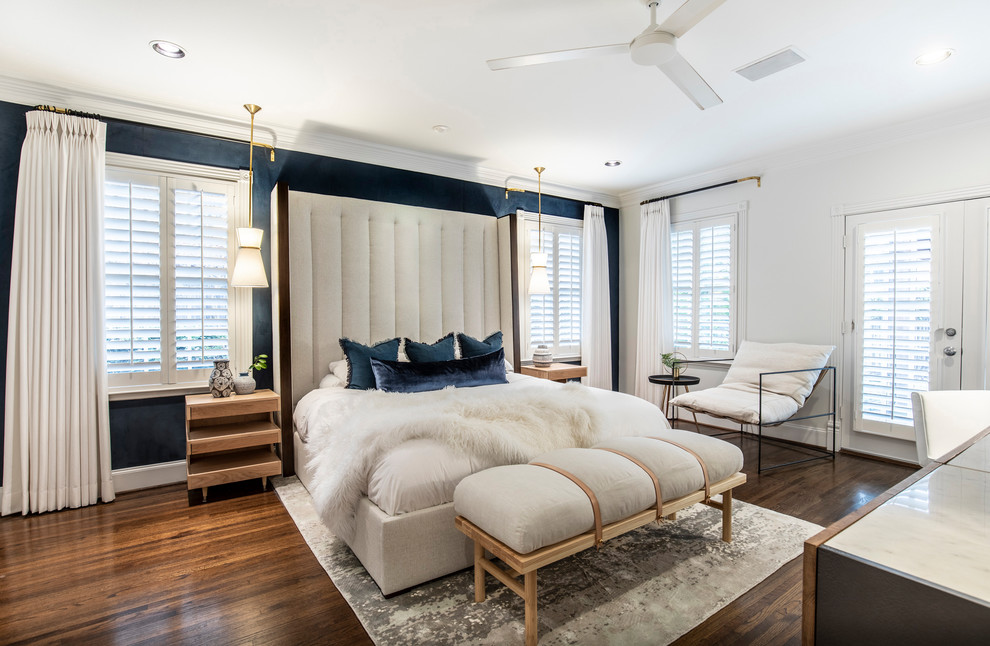 Mid-sized transitional master dark wood floor and brown floor bedroom photo in Dallas with blue walls and no fireplace