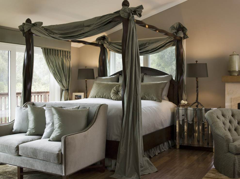 Inspiration for a large transitional master dark wood floor bedroom remodel in San Francisco with brown walls