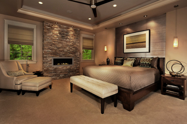 Trendy carpeted bedroom photo in Philadelphia with a ribbon fireplace Ethan Allen Bedroom Furniture  Houzz