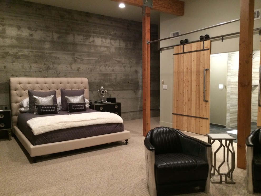 Bedroom - huge industrial master carpeted bedroom idea in San Francisco with white walls