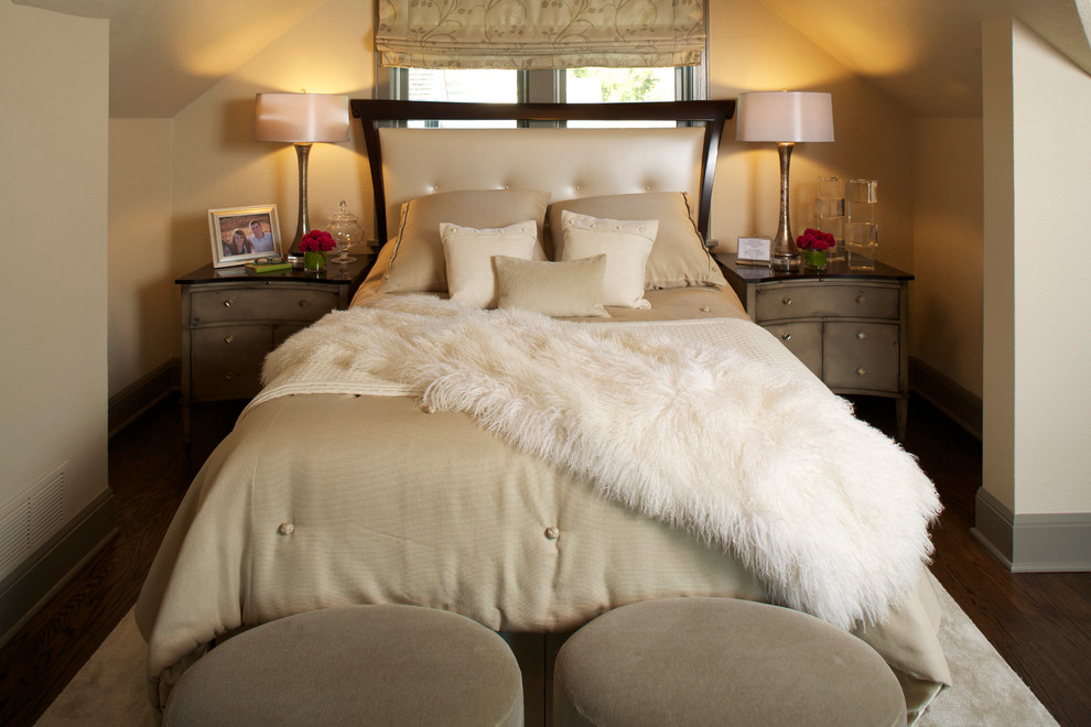 Inspiration for a timeless master dark wood floor bedroom remodel in Chicago with beige walls
