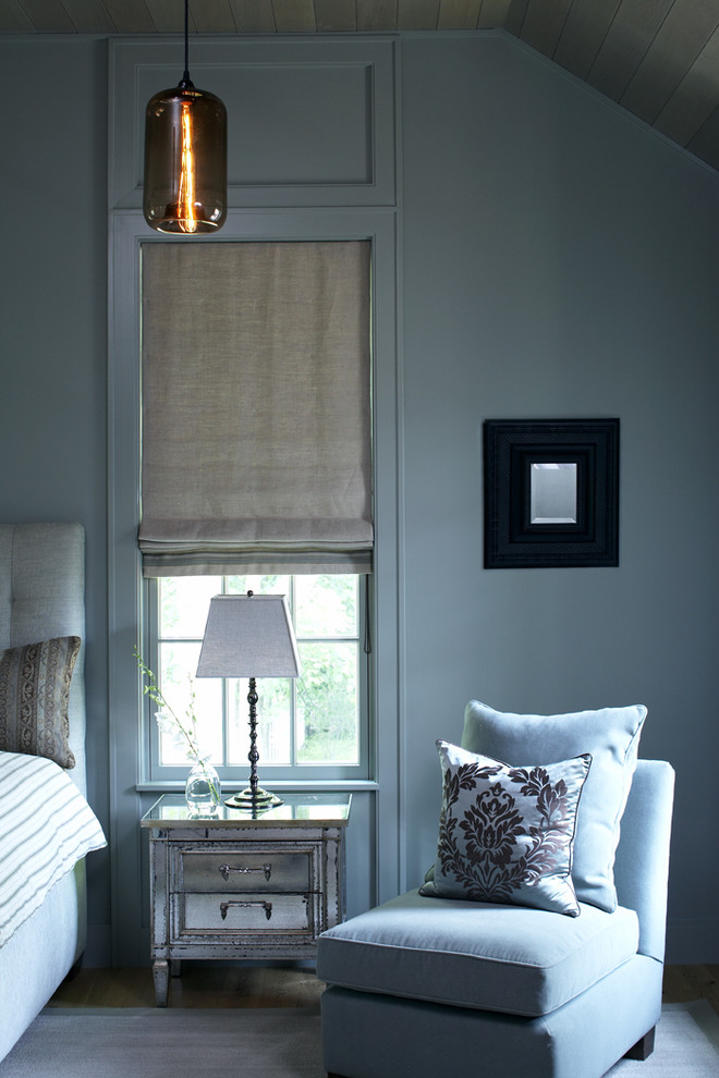 Trendy bedroom photo in Boston with gray walls