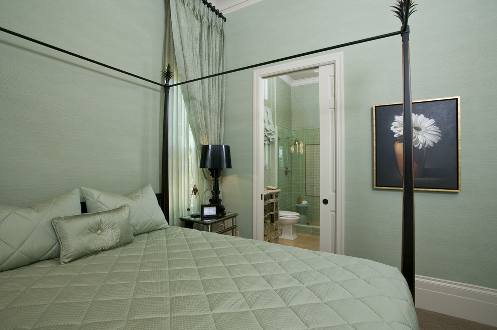 Mid-sized trendy guest carpeted and beige floor bedroom photo in Sacramento with green walls and no fireplace