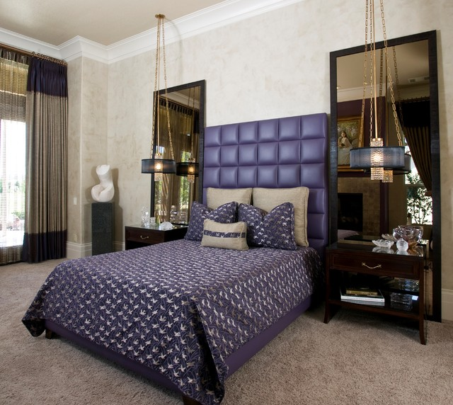 Glamorous Master Bedroom in Hollywood Regency Style - Robert Naik photography contemporary-bedroom