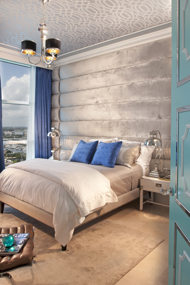 Inspiration for a contemporary bedroom remodel in Miami with no fireplace