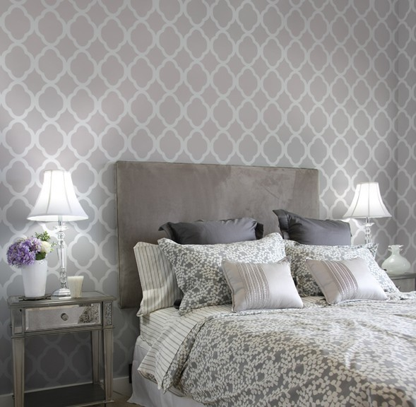 Bedroom Wall Design Stencils : Home decor wall stencils contemporary bedroom new