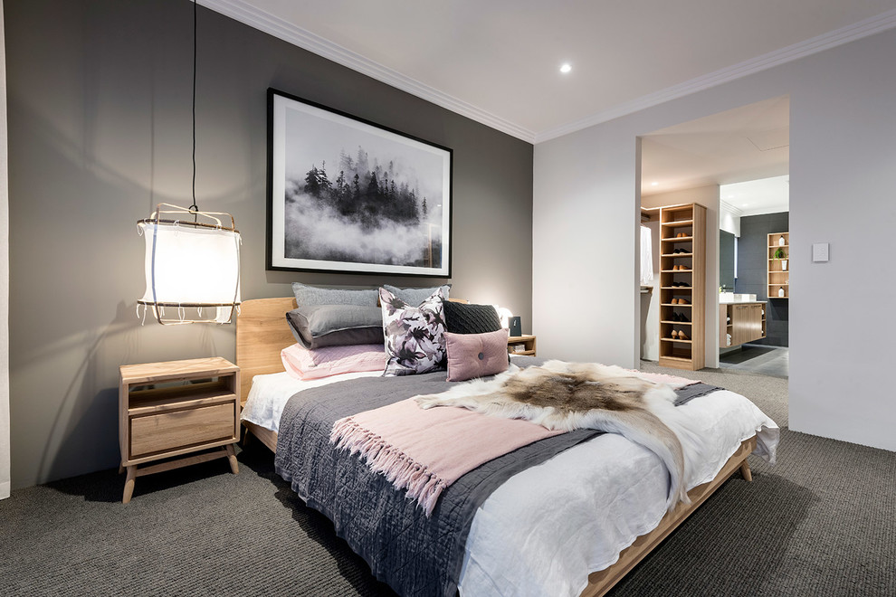Example of a trendy carpeted bedroom design in Perth
