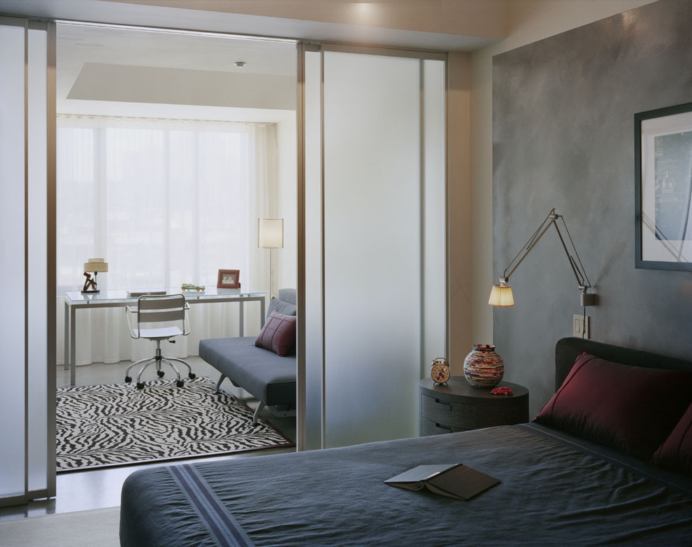 Bedroom - modern bedroom idea in Boston with gray walls