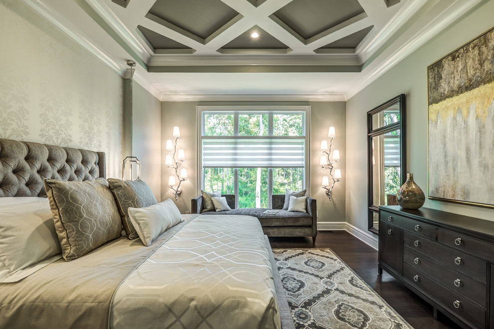 Inspiration for a large transitional master dark wood floor and brown floor bedroom remodel in Cincinnati with gray walls and no fireplace