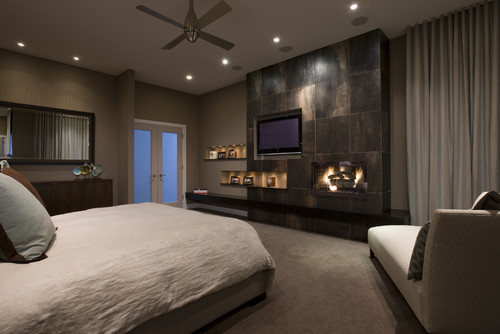 Modern Master Bedroom With Fireplace modern master bedroom with fireplace bedroom fireplace | houzz