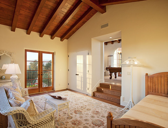 Hope ranch spanish style custom home guest bedroom for Spanish style bedroom