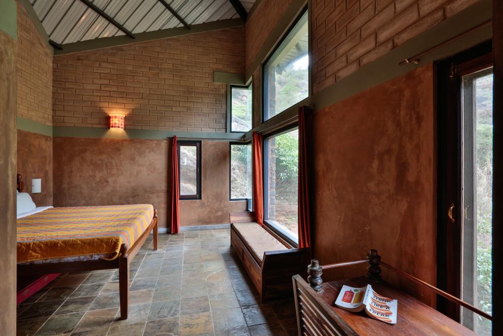 Example of a zen bedroom design in Bengaluru