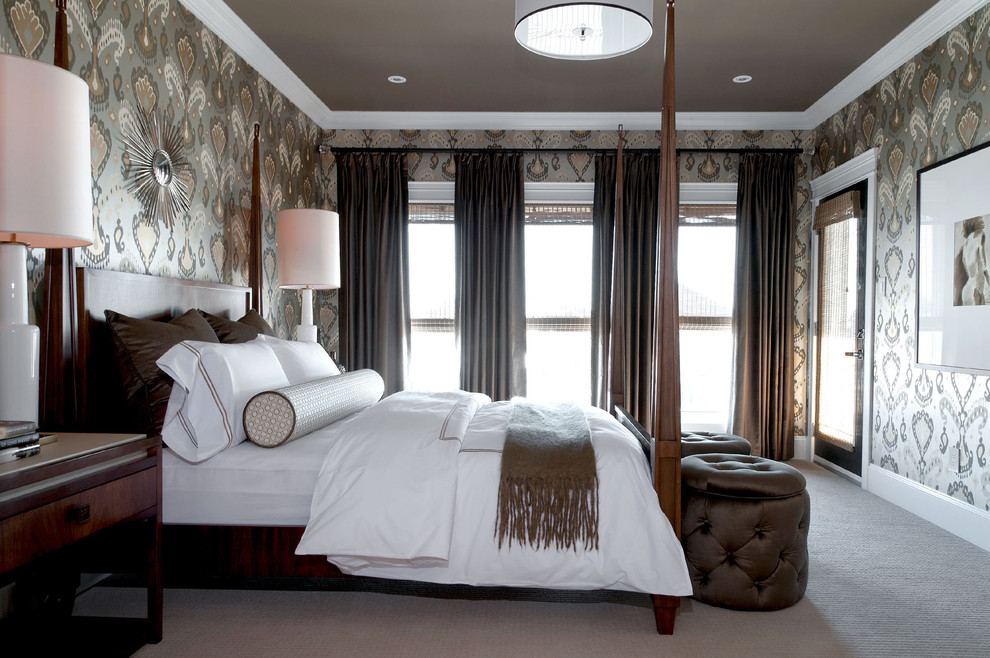 Trendy carpeted bedroom photo in Other with multicolored walls
