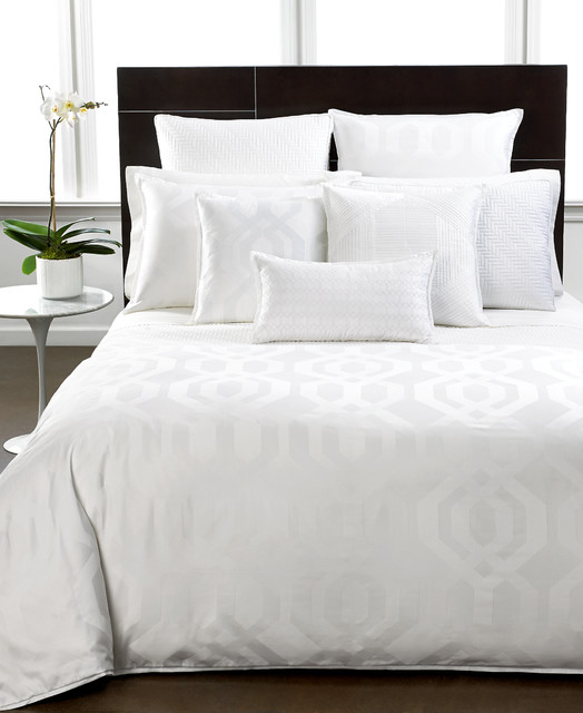 hotel collection bedding modern hexagon white collection