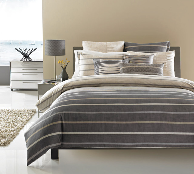 set luxury with collection com dobby hotel dp beckham matching striped duvet amazon cover shams microfiber soft brushed