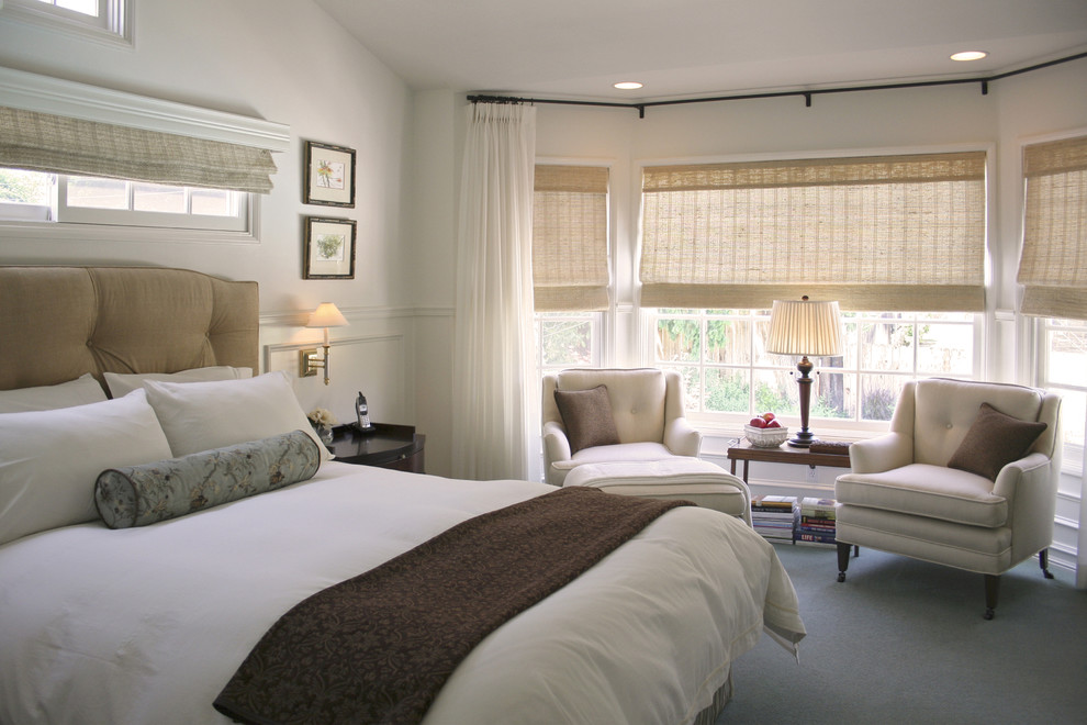 Bedroom - transitional master carpeted bedroom idea in Los Angeles with white walls