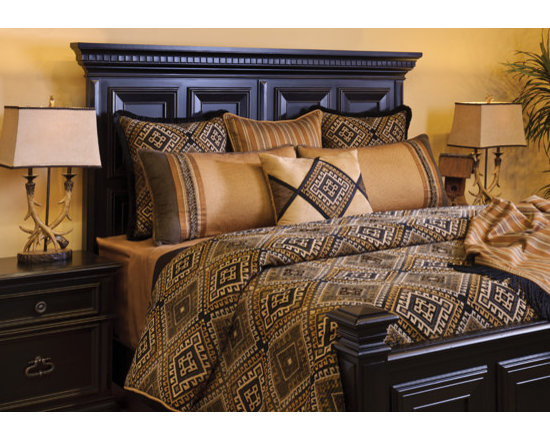 Bedding 2013 - HOUSTON: A combination of Browns, Blacks and subtle Gold woven together in a geometric Chenille print. A masculine stripe and complimentary solid textures of Gold and Espresso reinforce this bold look. Various fringes and trims top it off.