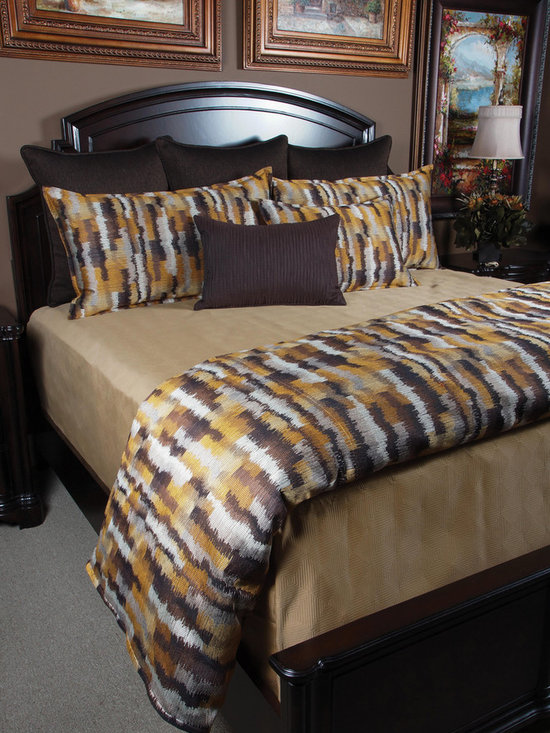 Bedding 2013 - Howard: For the minimalist who wants to keep it simple but have a little character this set is prefect. The creative pattern gives rich warm colors and the Taupe Matelasse blanket gives a finished clean look.